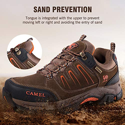 Women's for Orange Hiking Trekking Men's Exploring Breathable Outdoor Shoes Camping Crown Leather Khaki Black Camel Z4Eq6F4