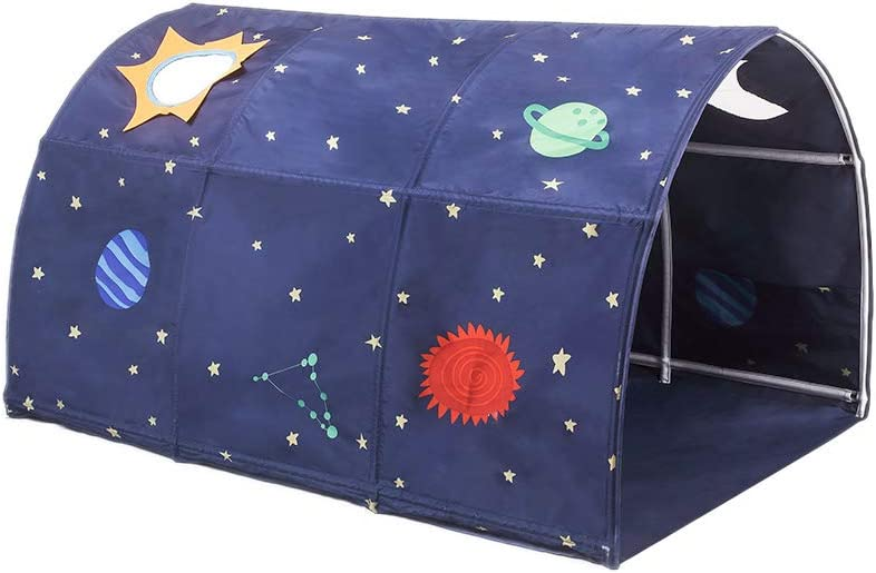 Cozyhoma - Tienda de campaña Infantil con túnel para 90 - 100 cm de Ancho para litera de Cama Infantil, Azul, 100x140x80cm