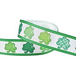 "Hipgirl 20 Yards 7/8"" Grosgrain Fabric Ribbon For Gift Package Wrapping, Hair Bow Clip Accessory Making, Crafting,Wedding Decor,Boy Girl Baby Shower-20yd Irish Shamrock St Patrick's Day"