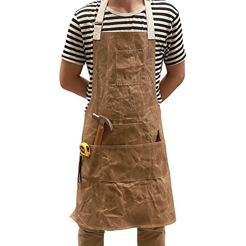Heavy Durable Thickened Wax Canvas Apron 6 Pockets and Waterproof Tool Apron, Size and Length Adjustable Workshop Woodworking Apron (CS-WS01)
