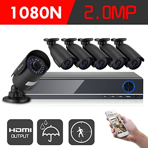 Color Video System (IHOMEGUARD 1080N Home Security Camera System with 6PCS HD 1920TVL 2.0MP Outdoor CCTV Weatherproof Cameras with 8 Channel AHD DVR Video Surveillance Kit no Hard Drive)