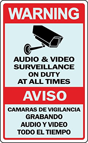 Spanish English Warning Sign Video Surveillance Retail Store Security (Retail Video)