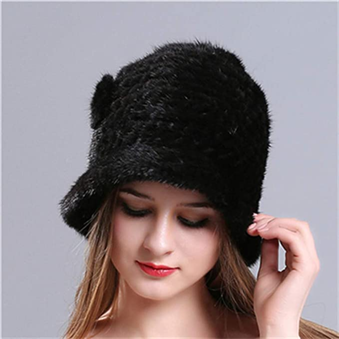 135a35d5e0a Winter Mink Fur Knitted Caps Hats Female Beanies Genuine Fur Princess Hat  Natural Fur Russian Hats Elastic Warm Women at Amazon Women s Clothing  store