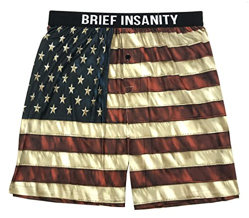 Brief Insanity Men's American Flag Commando Boxer Shorts Underwear Red/Blue (M) (Flag Silk Polyester)