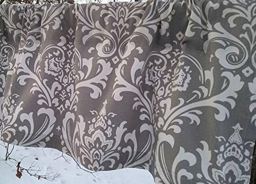 Grey and White Damask Valances, Two Valance Curtains, Set of Two Grey Damask Valances, 100% Quality Medium Weight Drapery Twill Cotton Premier Prints; 52