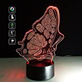 Deerbird 3D LED Visual Illusion Elf Animal Butterfly 7 Color Change Touch Switch USB Battery Powered Nightlight Desk Lamp for Kids Baby Room Nursery Decoration