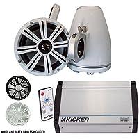 Kicker marine 8 LED Tower System (White), Kicker 40KXM400.4 400 Watt Amplifier, 41KMLC Remote
