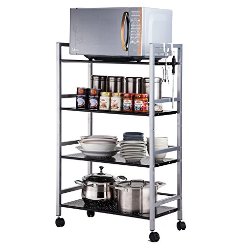 - SINGAYE 4-Tier Shelving Unit Kitchen Rack Storage Cart with Easy Moving Wheels,Adjustable Microwave Storage Shelf Rolling Cart on Square Tube,55 lbs Weight Capacity, Silver
