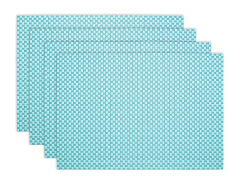 Ritz TechStyle Reversible Rectangular Woven Table Placemats, 19-inches by 13-inches, Set of 4, Aqua Blue Placemats