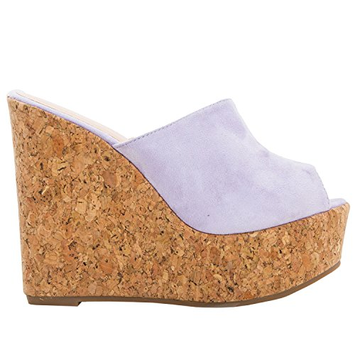 Meilidress Womens Espadrille Wedge Heels Slip On Platform Slides Cork Peep Toe Suede Mules Sandals ()