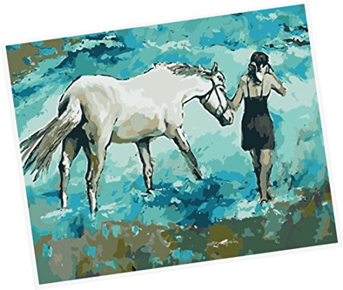 Wowdecor Paint by Numbers Kits for Adults Kids, Number Painting - Girl & Horse on the Beach 16x20 inch (Framed)