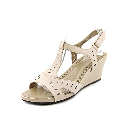 Easy Spirit Womens LULA Leather Open Toe Casual Platform Taupe Size 100
