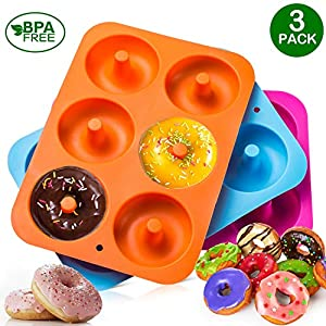 3-Pack Silicone Donut Baking Pan of 100% Nonstick Silicone. BPA Free Mold Sheet Tray. Makes Perfect 3 Inch Donuts. Tray Measures 10×7 Inches. Easy Clean, Dishwasher Microwave Safe