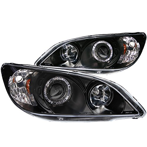 Honda Civic Anzo Headlights - Anzo USA 121059 Honda Civic Projector with Halo Clear Lens Black Headlight Assembly - (Sold in Pairs)