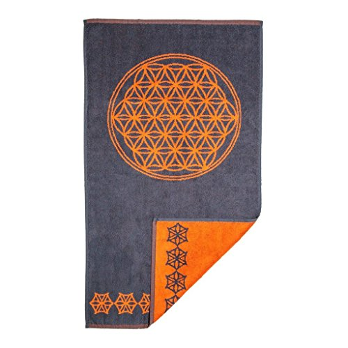 - Mandala Life ART Psychedelic Hand Towel, Flower of Life in Orange and Gray (Jacquard woven, Reversable, 35x20, 100% Cotton) by