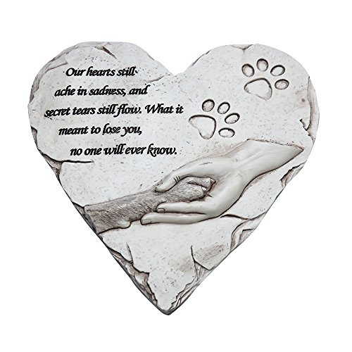 ZTSS Pet Memorial Stones For Dog or Cat,Cute Tombstone Engraved With Sympathy Poem & Paw In Hand Design,Heart Garden Decoration Stone With Footprint,Meaning Gift For Outdoor (White) by ZTSS