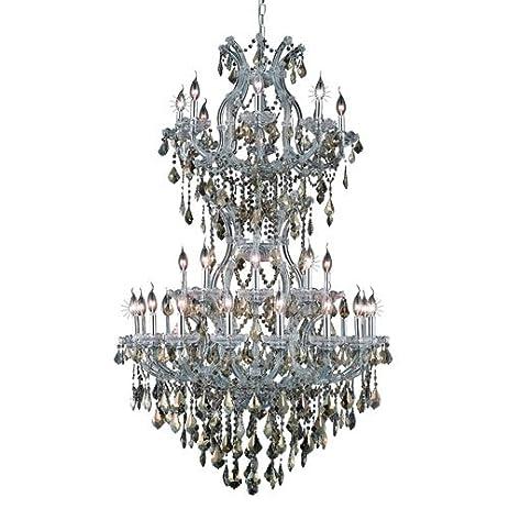 Elegant lighting 2800d36sc gt rc royal cut smoky golden teak crystal maria theresa 34