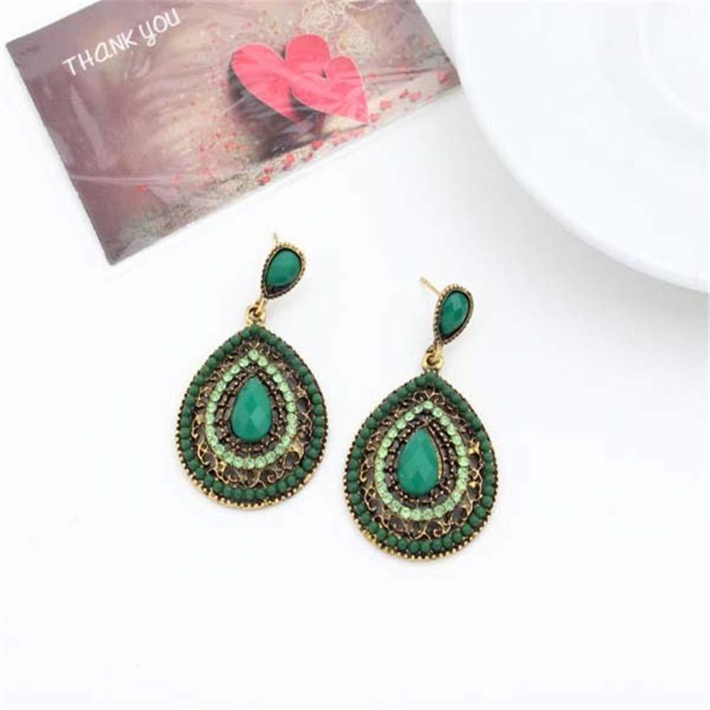 Boho Beaded Teardrop Dangle Earrings Ethnic Crystal Gemstone Water Drop Shape Earrings for Women Girls Jewelry