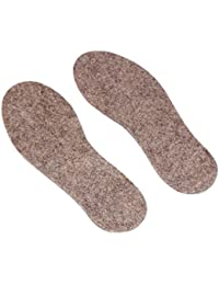 Wool Shoe Insoles Grey Cushioned Shock-Absorbing Shoe and Boot Inserts for Men Size (UK-14.5, US-15)
