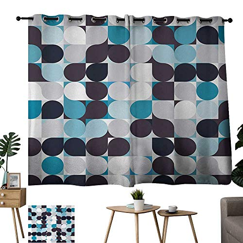 - Tankcsard Large Size Perforated Curtains Retro Inner Circles Pattern with Squares Mosaic Style Old Fashion Print Brown Grey Teal White Room Darkening Curtains for Living Room W55 xL39
