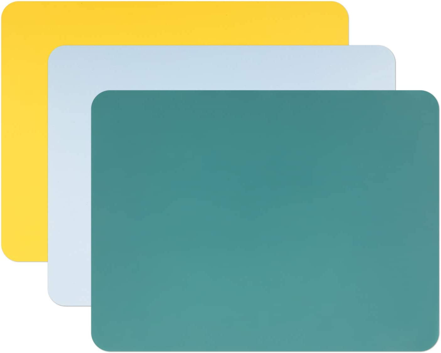 Gartful 3 PCS Silicone Sheet for Crafts, Resin Jewelry Casting Molds Mat, Food Grade Silicone Placemat Pad, Multipurpose Mat, Nonstick Nonskid Heat Resistant, Yellow & Green & Blue (15.7 x 11.8 inch)