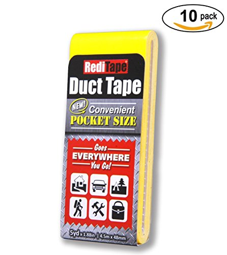 RediTape Pocket Duct Tape 10-Pack | 1.88 inches x 5 yards per Flat Pack (10-Pack, Yellow) by RediTape