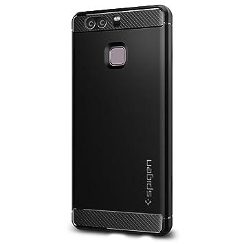 best service 364f3 e2412 Spigen [Rugged Armor] [Black] Case for Huawei P9, Original Carbon Fiber  Design Shock Absorption Air Cushion Technology Drop Protection Phone Cover  for ...