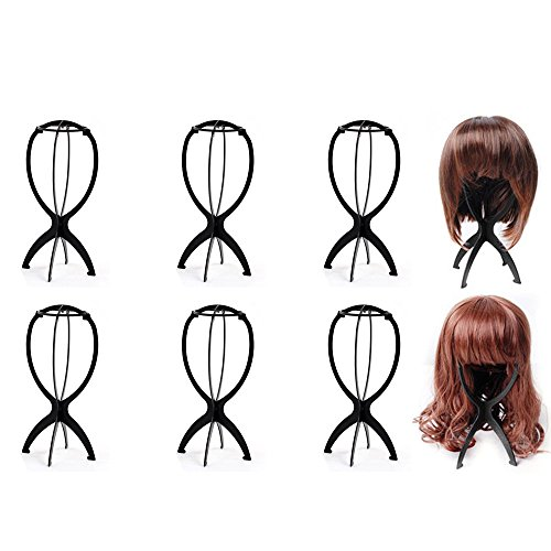 Price comparison product image Ardisle 6 Set Black Wig Display Stand Mannequin Dummy Head Hat Cap Shop Holder Storage