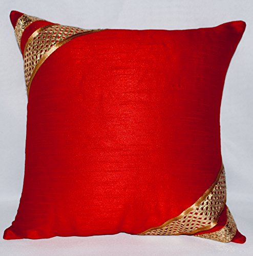 Red Embroidery, Square, Decorative Pillow Cushion Cover in Silk Linen (16x16) - Red & Gold accent pillow case perfect as a Valentine's gift or for Home Decor!