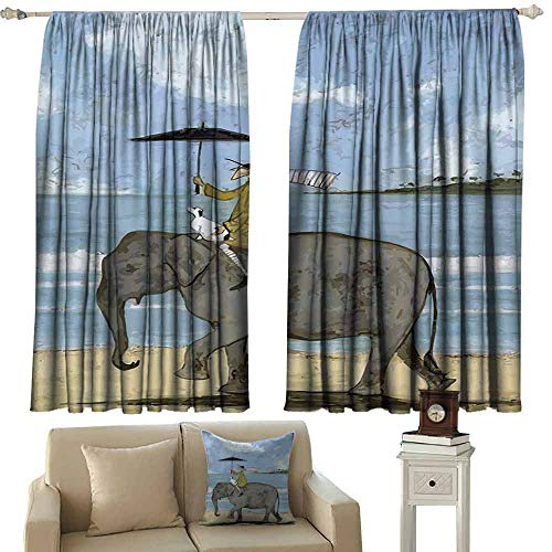 """Mannwarehouse Durable Curtain Old Man Riding an Elephant for Living, Dining, Bedroom (Pair) 55"""" Wx72 L"""