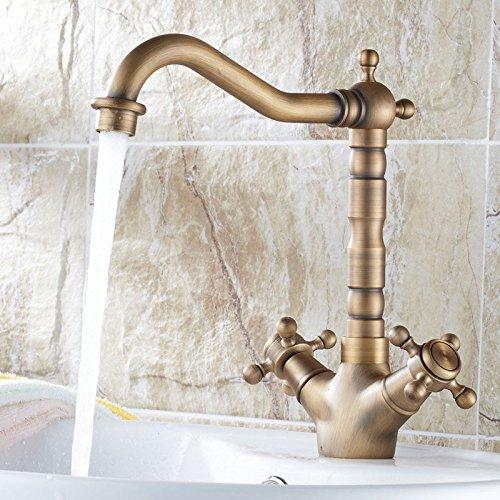 LHbox Bad Bad Bad Armatur in Bad für Waschbecken Waschtisch Wasserhahn Waschtischarmatur Continental antike voll Kupfer-Deck montiert Waschtischmischer d8c8c5