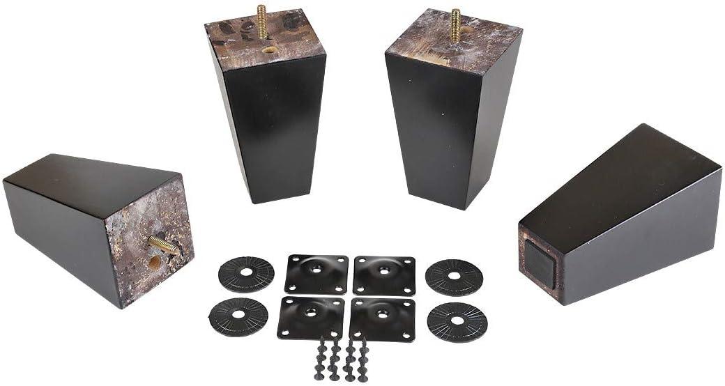 """ProFurnitureParts Espresso 5.5"""" Tall Tapered Wood Sofa Legs w/Anti-Skid Pads, Leg Plates Included Set of 4"""