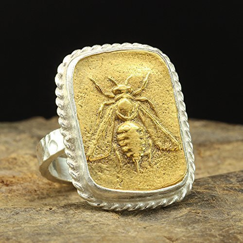 (Ancient Greek Art Honey Bee Coin Ring 925 Sterling Silver 24K Yellow Gold Vermeil Two Tone Handcrafted Hammered Artisan Signet Roman Coin Ring)