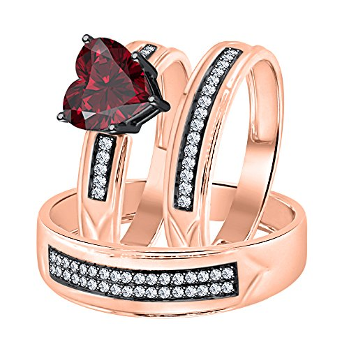 (Dabangjewels Heart Shaped 2.80cttw Red Garnet & White CZ Diamond 14K Rose Gold Plated 925 Sterling Silver Engagement Ring Trio Bridal Set for Him & Her)