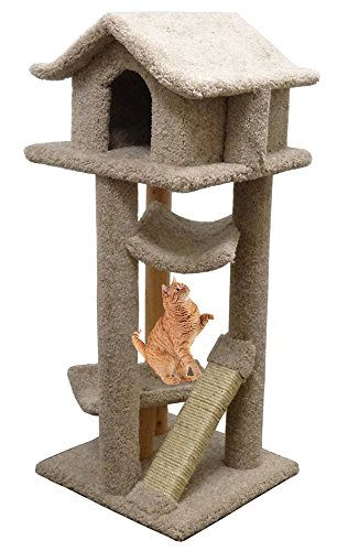 - Cat Furniture House Carpet Kitty Tree Wood 2 Beds, Beige