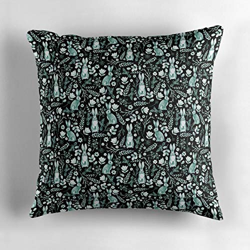 Rdkekxoel Turquoise Bunny Tapestry Custom Throw Pillow Cushion Cover, Decorative Square Accent Pillow Case Cover, Square 18 X 18 inches, Multicolor