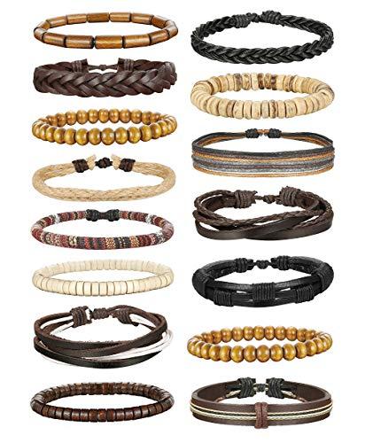LOLIAS 24 Pcs Woven Leather Bracelet for Men Women Cool Leather Wrist Cuff Bracelets Adjustable (Style D3:15 ()