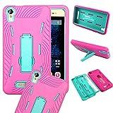 Energy X Plus Case, BLU Energy X Plus E030U Case - SOGA® [Ribbed Protection Series] Armor Kickstand Case Hybrid Hard Skin Phone Cover for BLU Energy X Plus 5.5 E030U - Teal / Hot Pink