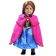 "Anna Inspired Doll Clothes for American Girl Dolls: 3 Pc Princess Outfit By Dress Along Dolly"" (Includes Dress, Shawl, Boots)"