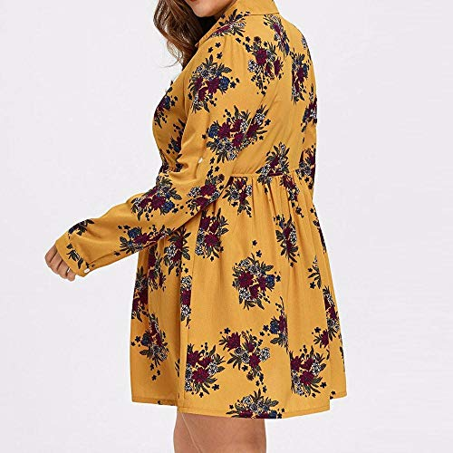 Casual Boho Yellow Mini Sleeve Button KIMODO Print Womens Floral Long Dress Dresses 0xqwPXYA
