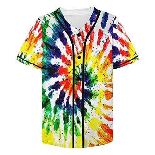 INTERESTPRINT Men's Tie Dye Rainbow Shibi Pattern Baseball Jersey T-Shirts Plain Button Down Sports Tee 4XL