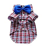 Handsome Casual Dog Plaid Shirt Gentle Dog Western Shirt Dog Clothes Dog Shirt + Bow Free Shipping,Red,M, My Pet Supplies