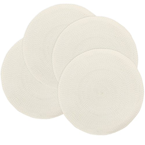 (Doupoo Round Place Mats For Kitchen Table,Vinyl Woven Placemats Heat Resistant table mats (4, Ivory Set of 4))