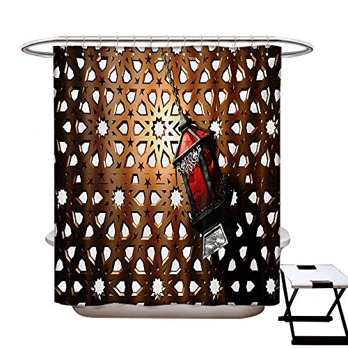 Lantern Shower Curtain Customized Egyptian Fanoos in a 3D Style Realistic Illustration Moroccan Backdrop Design Bathroom Accessories W72 x L84 Bronze Red Grey