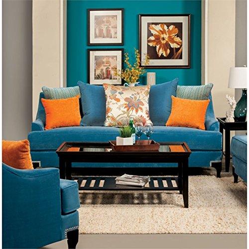 Furniture of America Cathleen Fabric Sofa in Peacock Blue