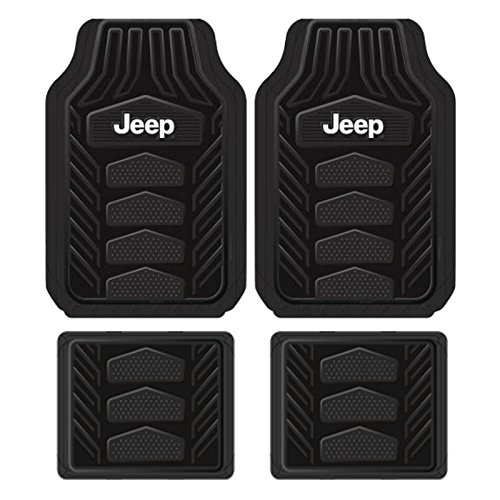 Plasticolor 001668R01 Weatherpro Black One Size Jeep Logo Car Truck SUV Heavy Duty Rubber, 4 Piece Front and Rear Floor Mat Set (1 Floor Piece Rear Black)