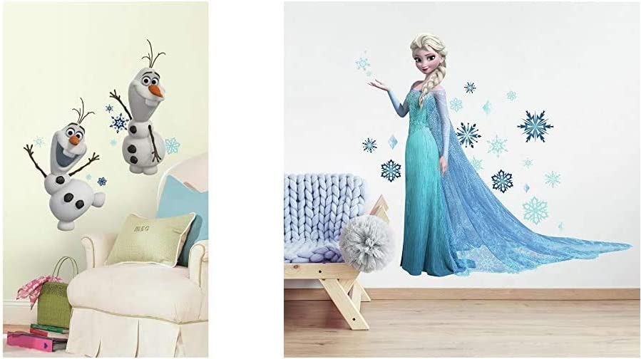 RoomMates Disney Frozen Olaf The Snow Man & Frozen Elsa Peel and Stick Giant Wall Decal