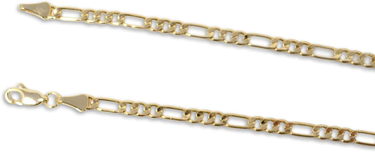 UrbanMixNY 14K Gold Plated Unisex 8 20 24 30 Lengths 3.4mm-12mm Widths Figaro Chain Link Necklace and Bracelet