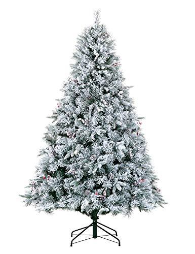 LordofXMAS Flocked Unlit Christmas Tree Artificial 7.5 ft Pine Cones Red Berries