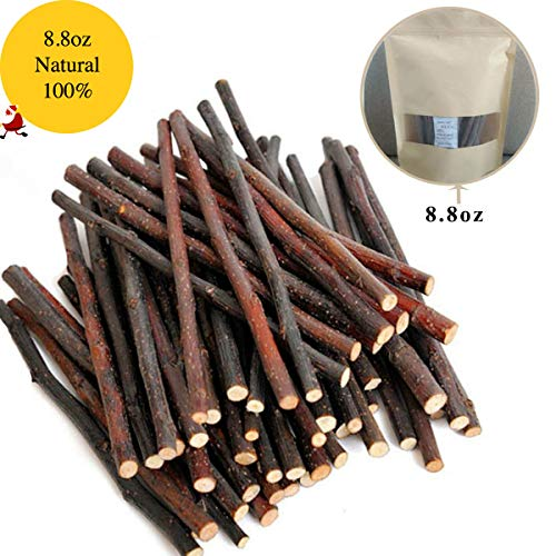 Bojafa 250g Apple Sticks Small Animals Molar Wood Treats Toys Chinchilla Guinea Pig Hamster Rabbit Gerbil Parrot Bunny and Small Animals Chew Stick Toys Treats (250g, About 50 Pcs) Chew Small Animal Toy